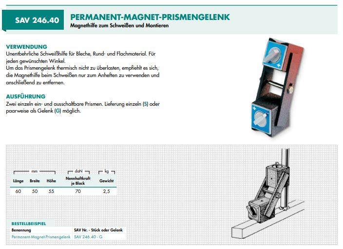 SAV 246.40 verstelbare hoeklas magneet