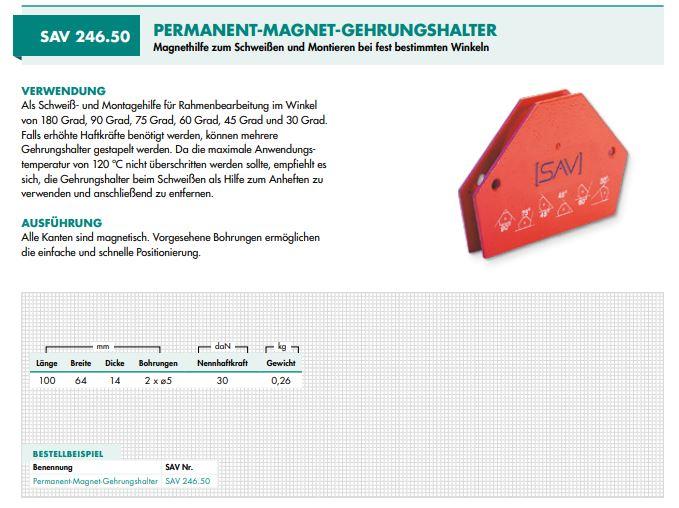 SAV 246.50 hoeklasmagneet